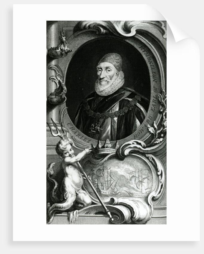 Portrait of Charles Howard, Earl of Nottingham by Jacobus Houbraken