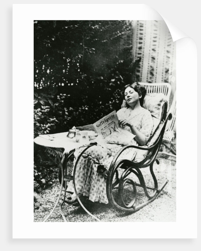 Christabel Pankhurst reading a copy of 'The Suffragette' by English Photographer