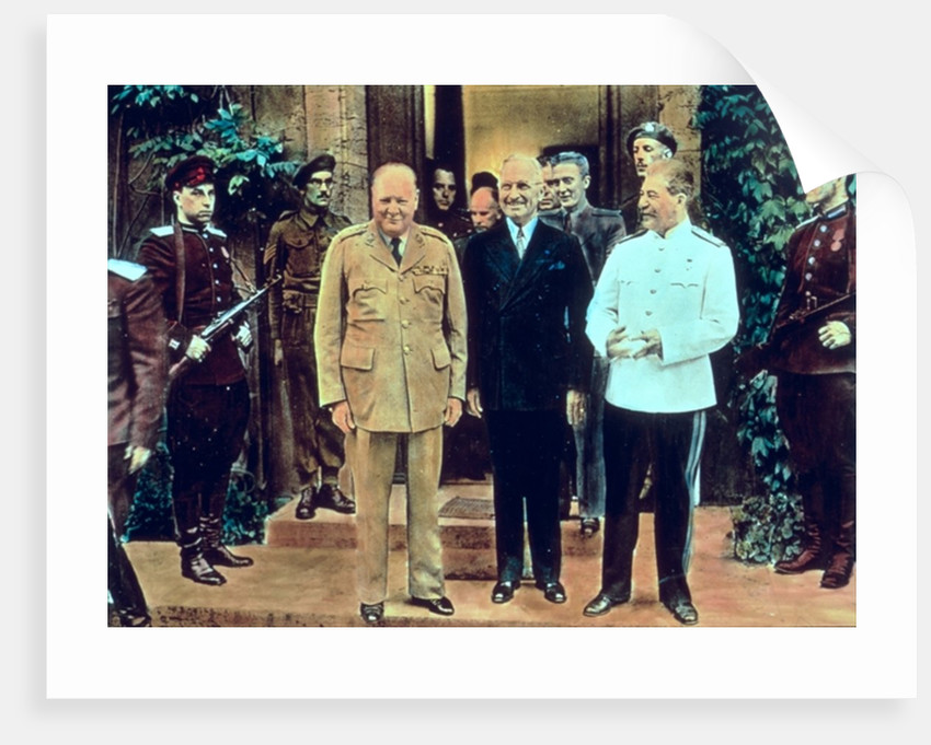 Winston Churchill President Truman and Joseph Stalin at the Potsdam Conference, July 1945 by English School