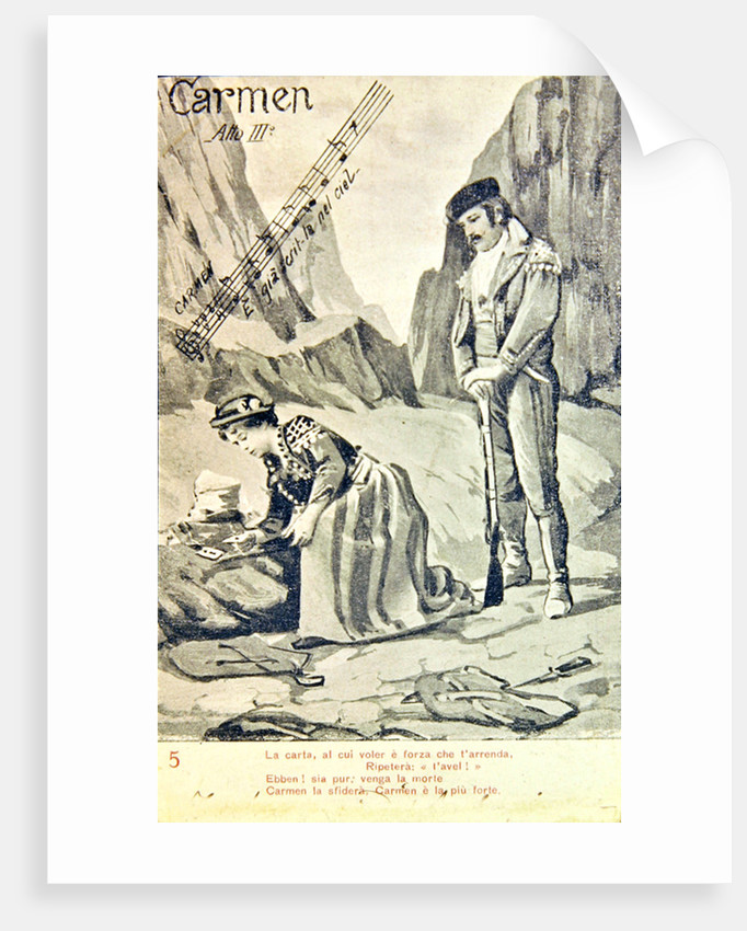 Postcard commemorating the Third Act of the opera 'Carmen', by Georges Bizet by Unknown