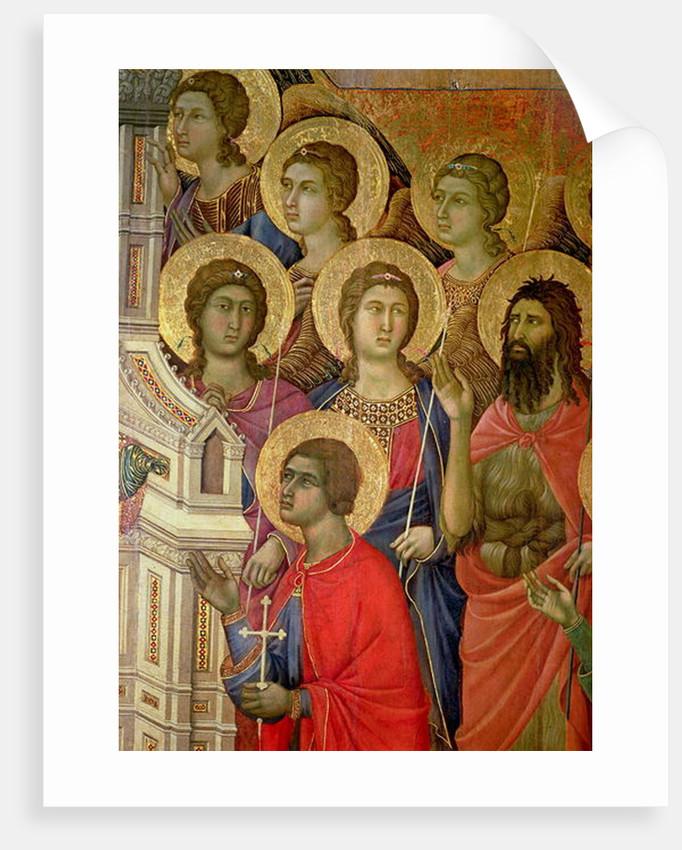 Maesta: Detail of Saints, including St. John the Baptist by Duccio di Buoninsegna