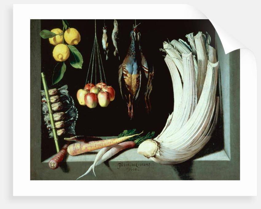 Still life with dead birds, fruit and vegetables by Juan Sanchez Cotan