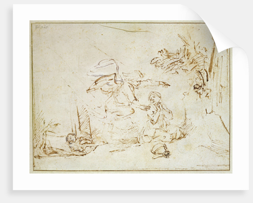 The Angel Appears to Hagar and Ishmael in the Wilderness by Rembrandt Harmensz. van Rijn