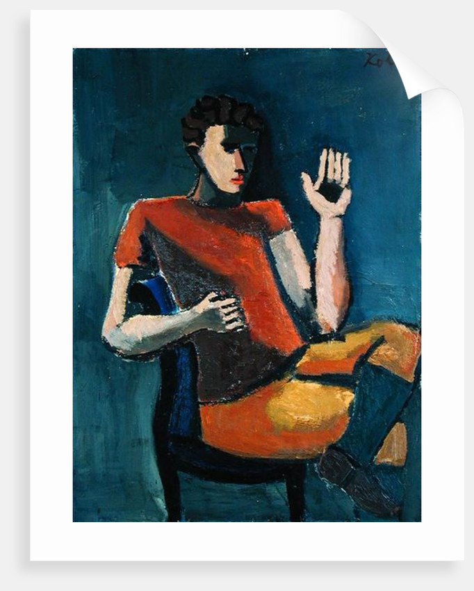 Seated Man with a Raised Hand by Helmut von Hugel Kolle
