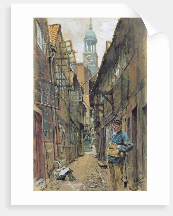A Back Alley in Hamburg by Franz Skarbina