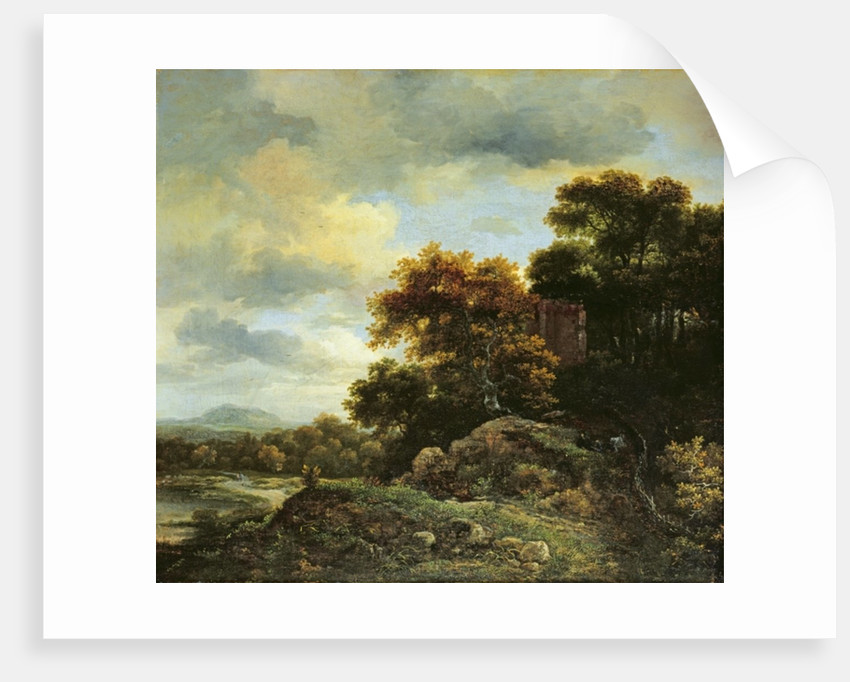 Landscape with Wooded Hillock by Jacob Isaaksz. or Isaacksz. van Ruisdael
