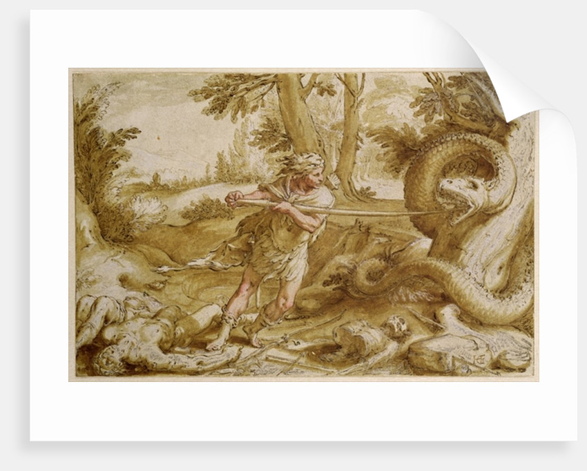 Cadmus about to attack a Dragon by Hendrik Goltzius