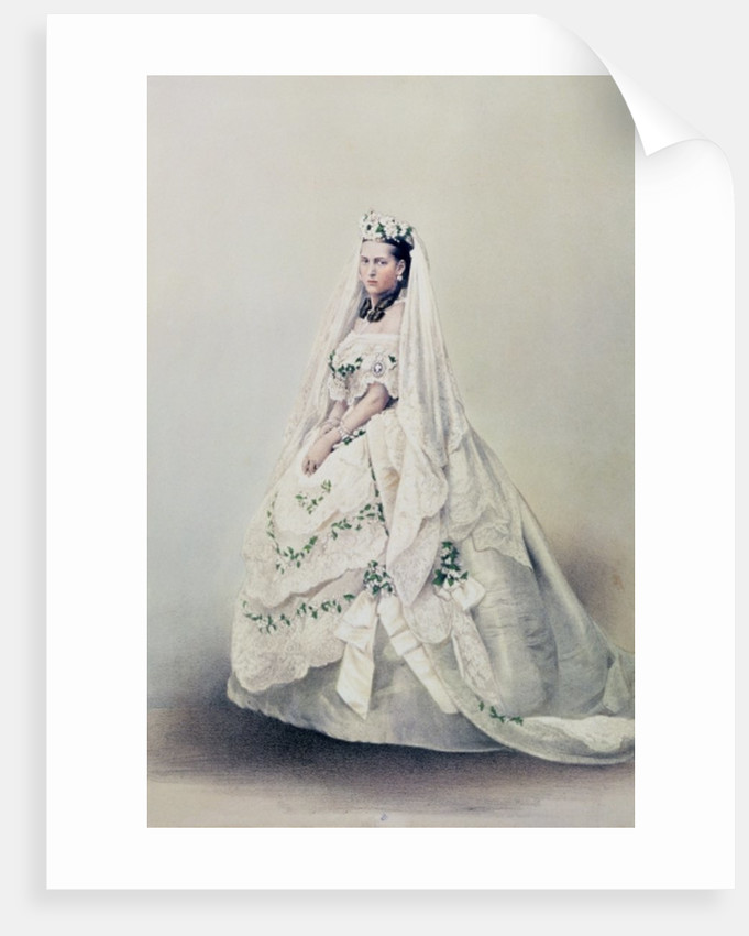 HRH The Princess Alexandra Caroline of Denmark in her wedding dress by Anonymous
