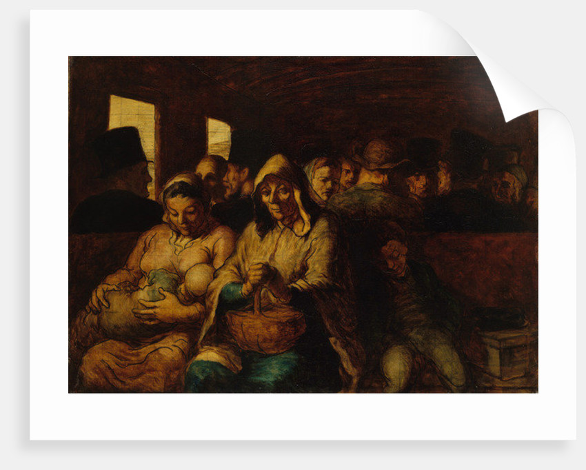 Interior of third-class carriage by Honore Daumier