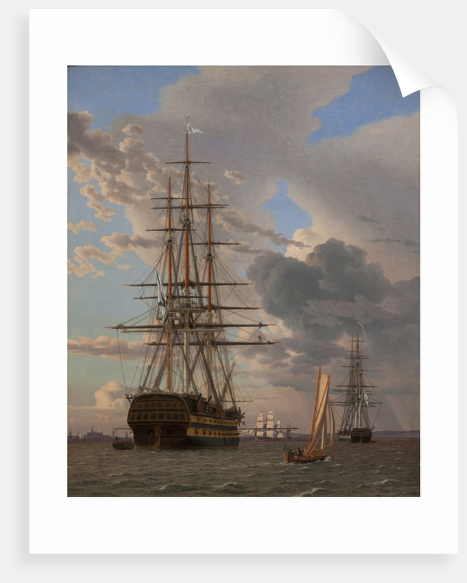 "The Russian Ship of the Line ""Asow"" and a Frigate at Anchor in the Roads of Elsinore by Christoffer-Wilhelm Eckersberg"