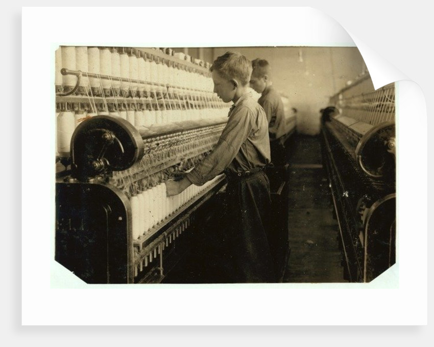 Doffers replacing full bobbins at Indian Orchard Cotton Mill, Massachusetts by Lewis Wickes Hine