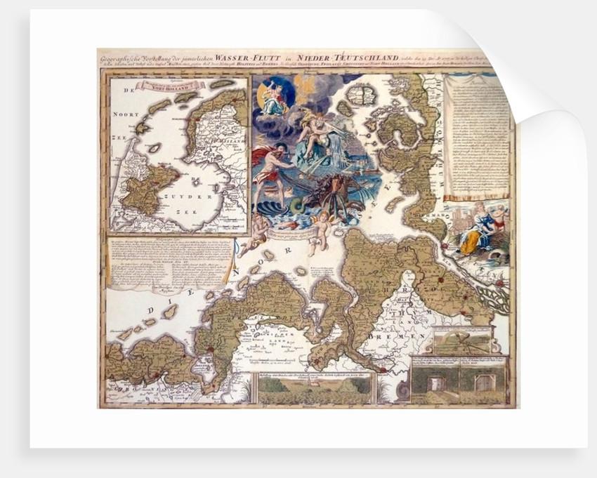 Map of the Christmas Flood of 1717 by Johann Baptista Homann
