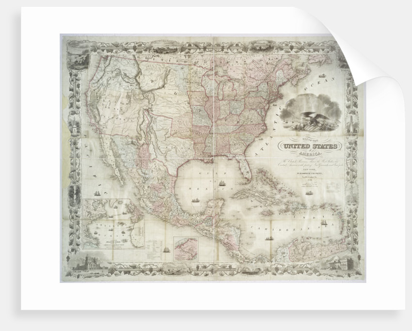 Map of the United States of America, British provinces, Mexico, West Indies and Central America by American School