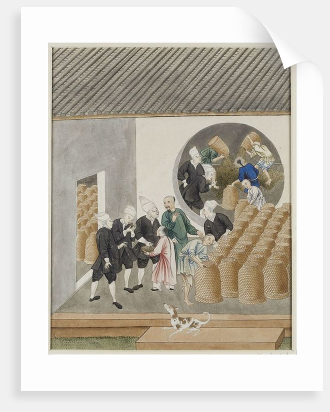 Turbanned Dutch VOC merchants smell tea for quality in a Canton tea warehouse, c.1770 by Chinese School