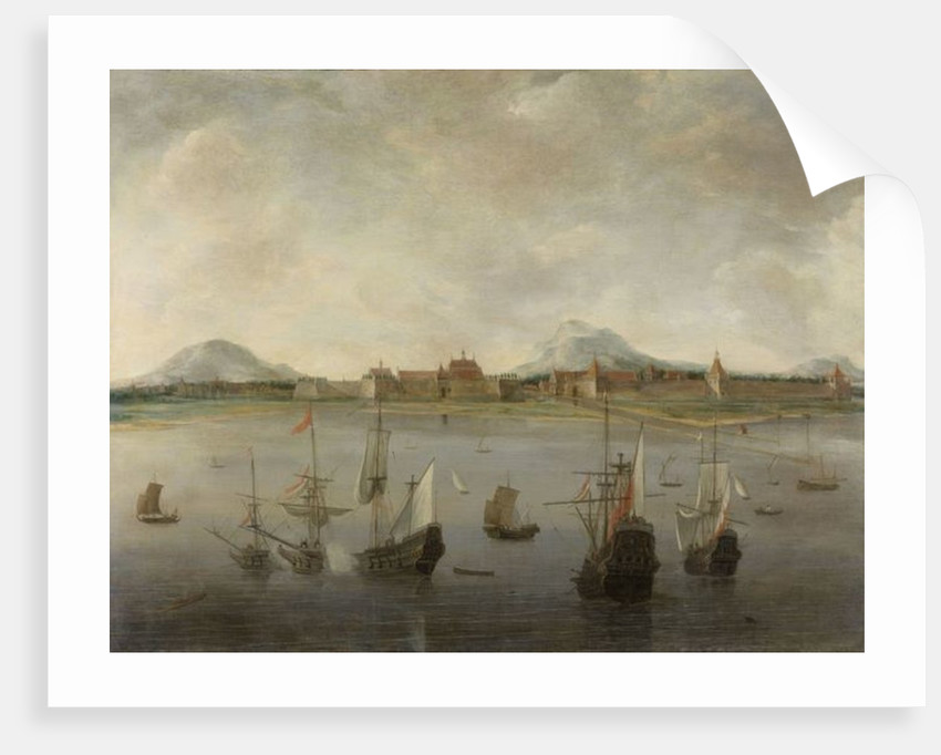 View of Batavia with the mountain range of the Salak, Pangerango and Gede. 1640-76 by Hendrick Dubbels