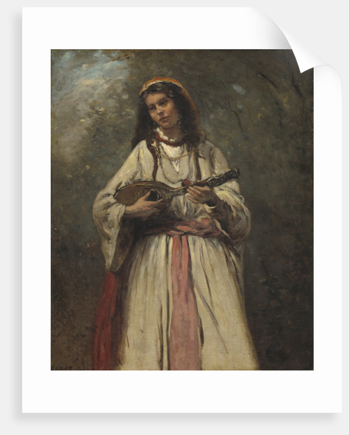 Gypsy Girl With Mandolin by Jean Baptiste Camille Corot
