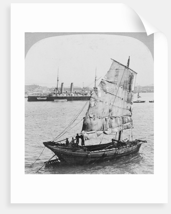 Chinese junk and British battleship in the harbour at Hong Kong by Carlton Harlow Graves