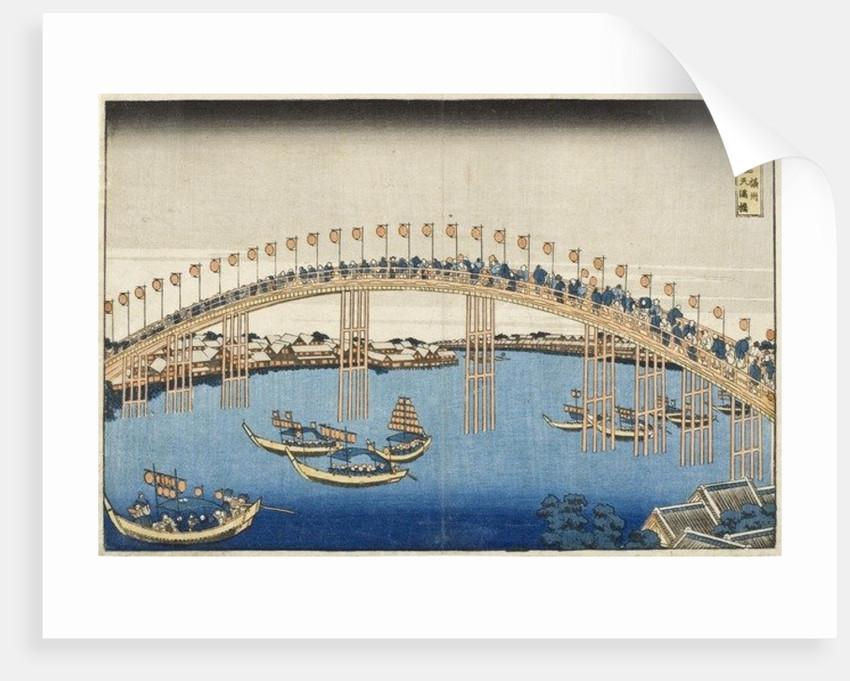 Temma Bridge, Settsu Province from the Series Wondrous Views of Famous Bridges of Various Provinces by Katsushika Hokusai