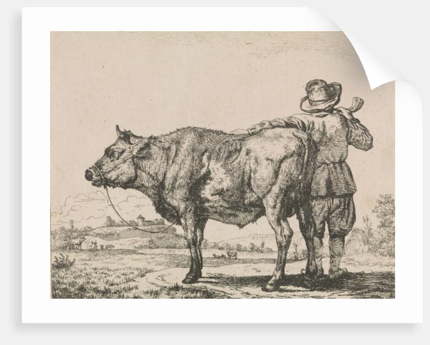 Man standing with bull by Adriaen van de Velde