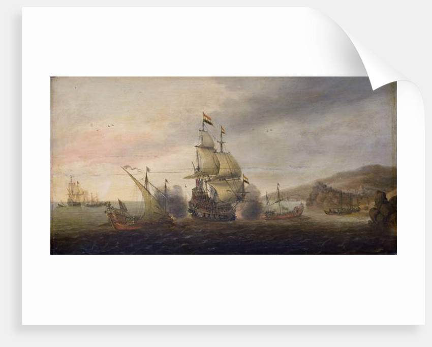 Naval Battle between Dutch Men-of-War and Spanish Galleys, c.1633-50 by Cornelius Bol