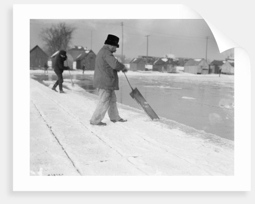 Ice harvesting, sawing by Detroit Publishing Co.