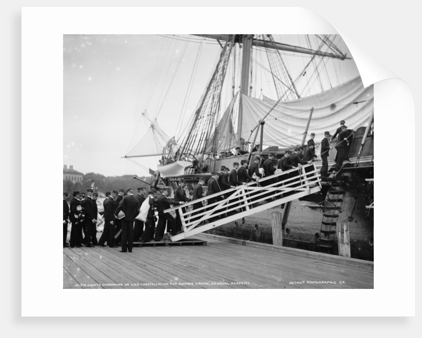 Cadets embarking on U.S.S. Constellation for summer cruise by Detroit Publishing Co.