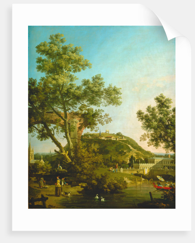 English Landscape Capriccio with a Palace by Canaletto