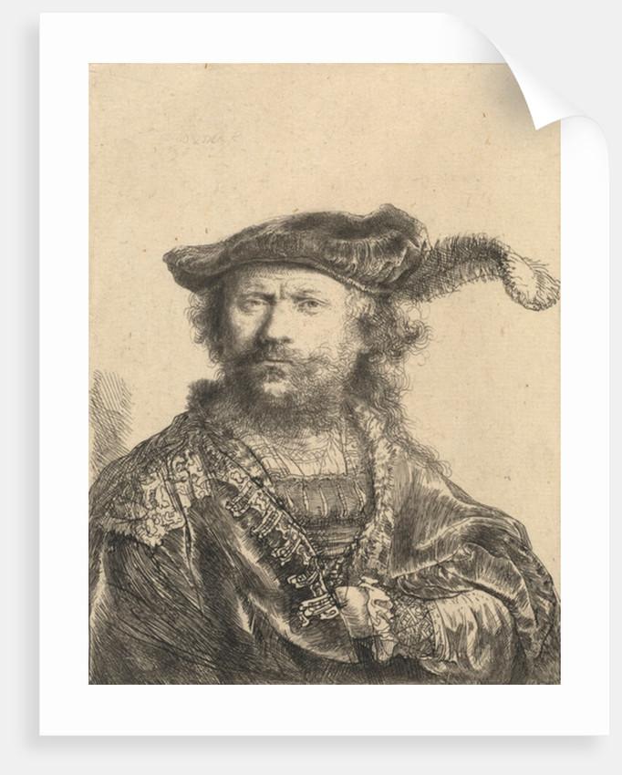 Self Portrait in a Velvet Cap with Plume by Rembrandt Harmensz. van Rijn