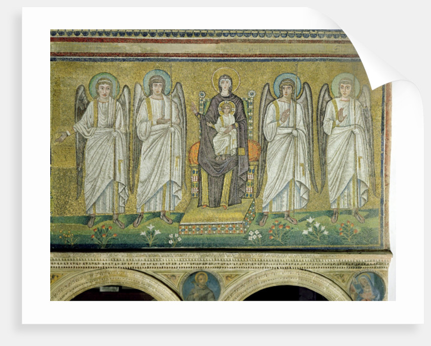 Madonna and Child enthroned and flanked by angels by Byzantine School