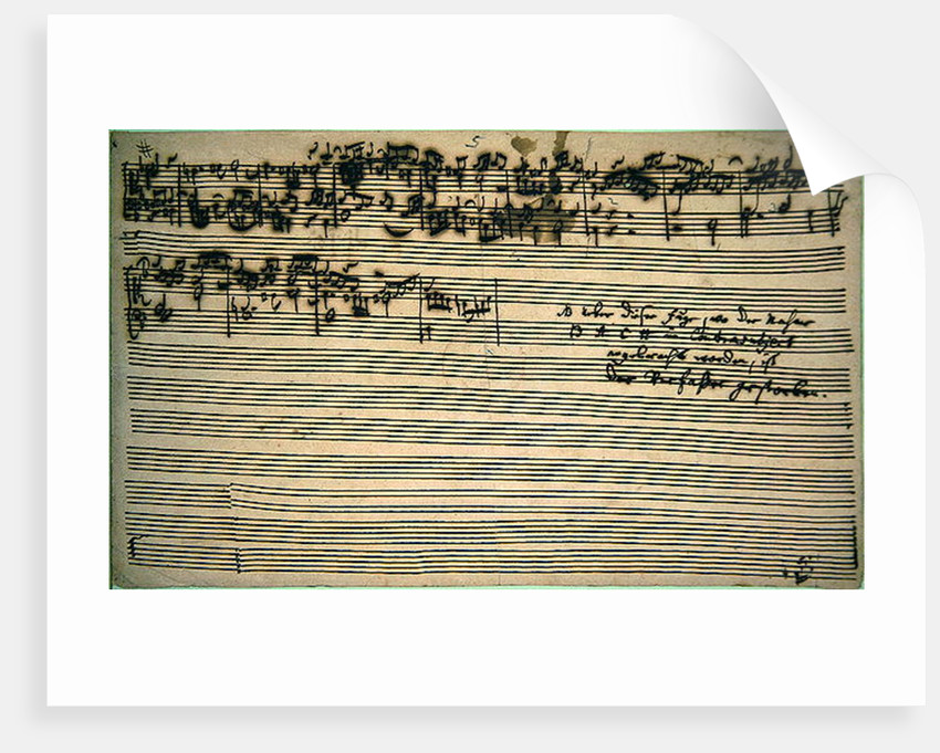Last page of The Art of Fugue by Johann Sebastian Bach