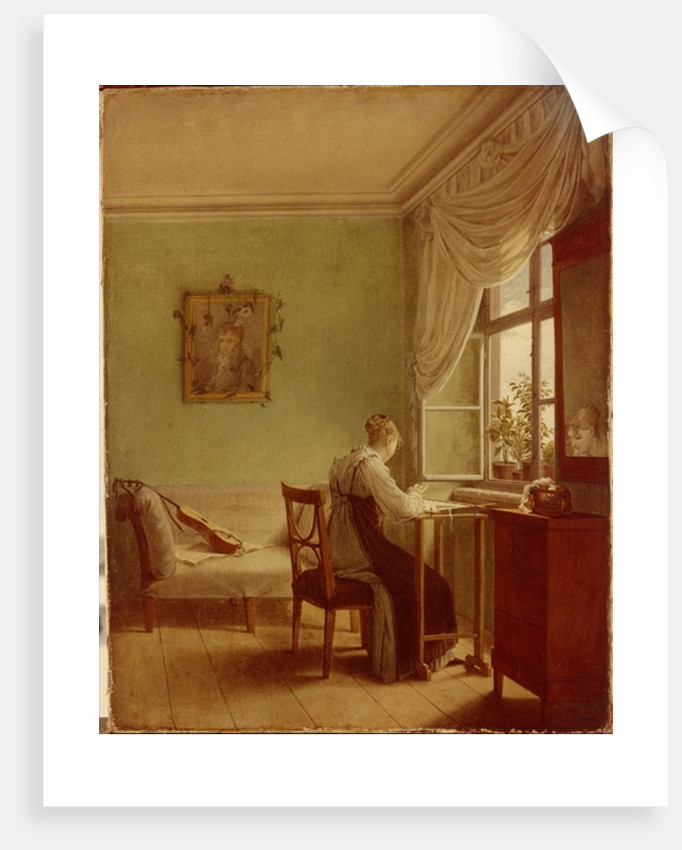 Woman Embroidering by Georg Friedrich Kersting