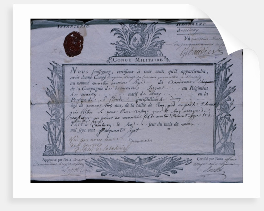 Permit for the Battle of Rossbach by German School