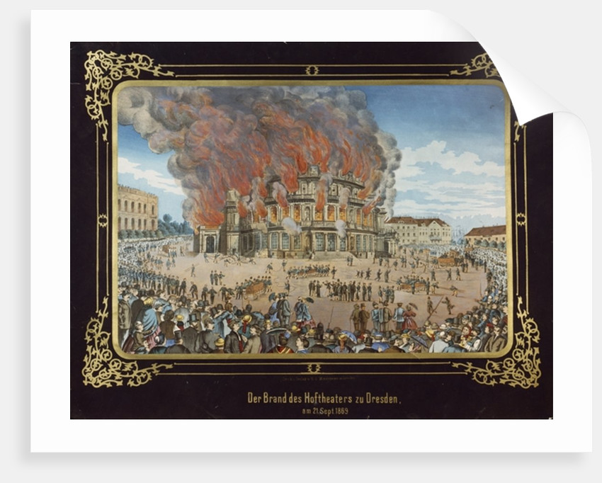 Fire at the Royal Theatre in Dresden on 21st September 1869 by German School