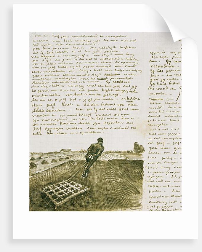 Man pulling a harrow by Vincent van Gogh