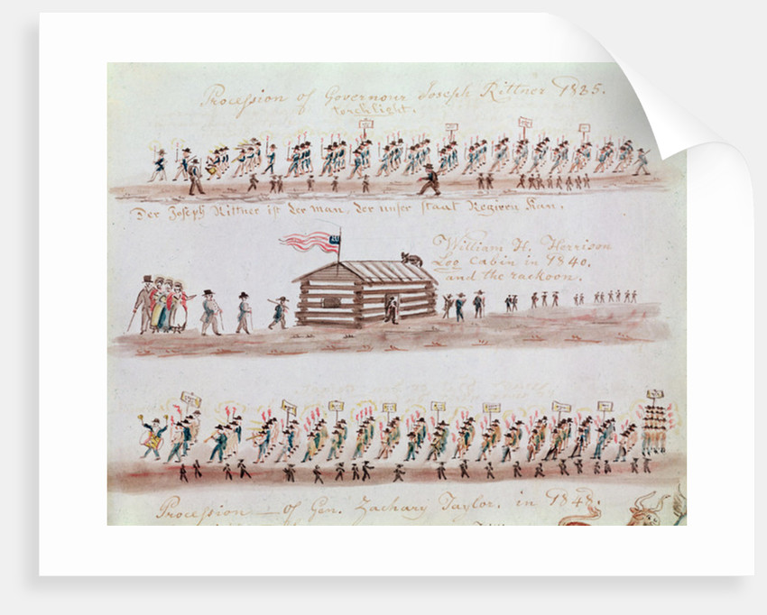 Three sketches depicting events in American history by Lewis Miller