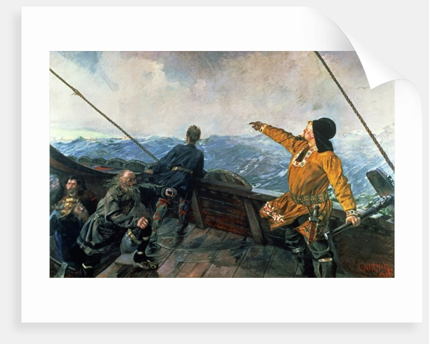 Leif Eriksson (10th century) sights land in America by Christian Krohg