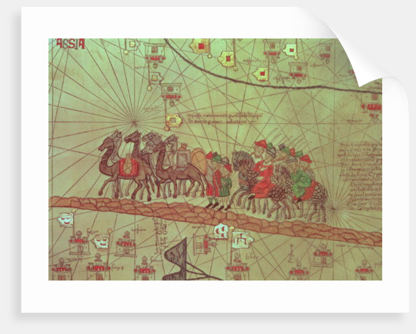 Catalan Atlas, detail showing the family of Marco Polo travelling by camel caravan by Spanish School