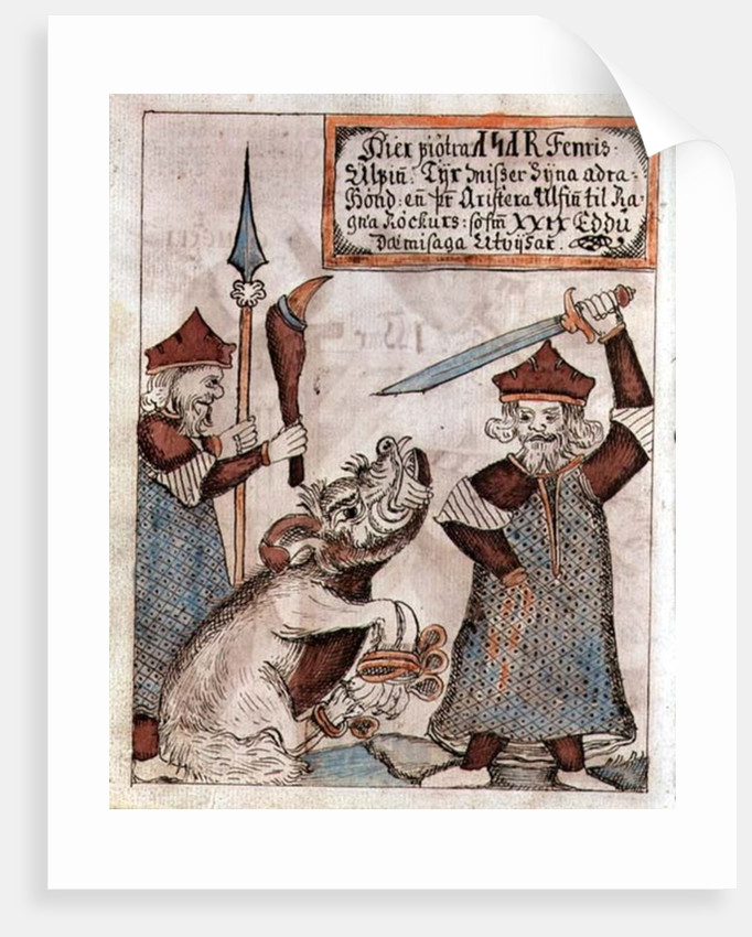 The Norse god Tyr losing his hand to the bound wolf, Fenrir by Icelandic School
