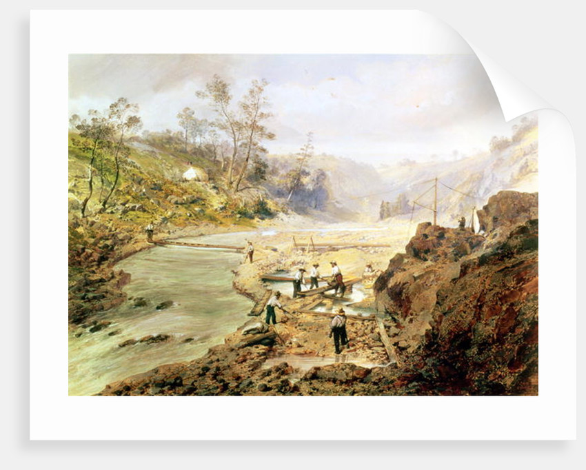 'Fortyniners' washing gold from the Calaveres River, California by American School