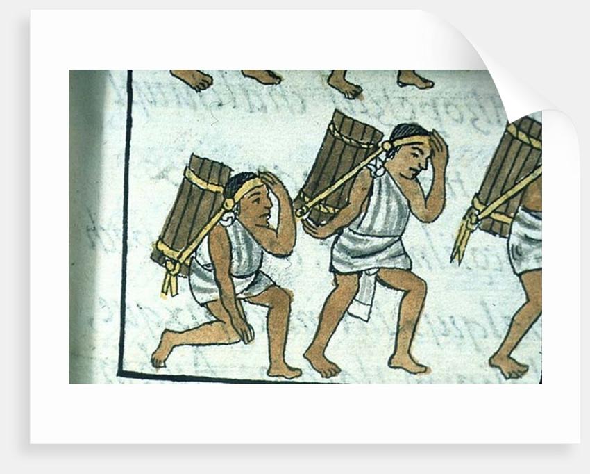Book IX Aztec porters by Spanish School