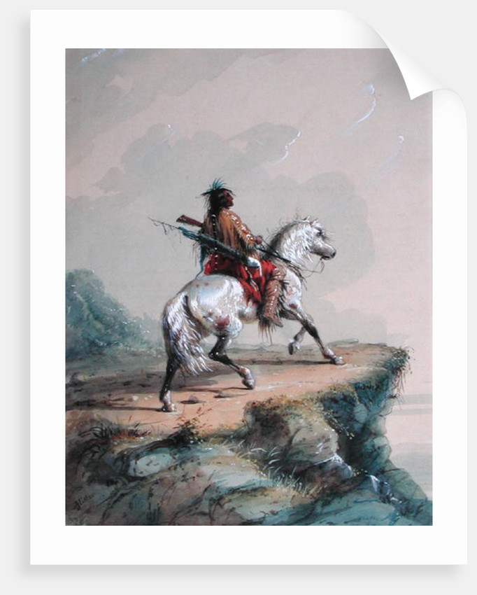 Crow Indian on the Lookout by Alfred Jacob Miller
