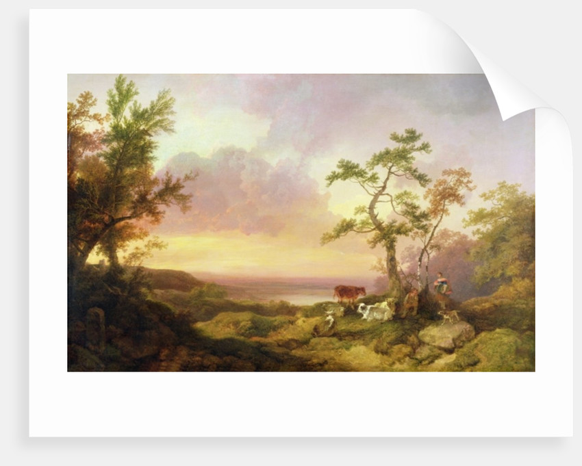 Landscape with Cattle and Peasant by Philip James de Loutherbourg