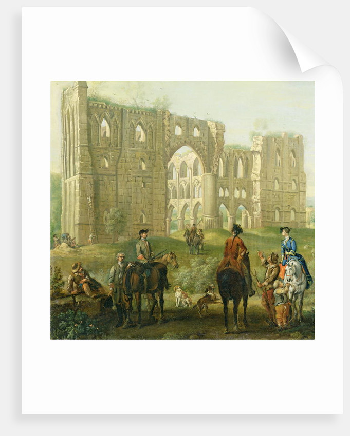 Riders Pausing by the Ruins of Rievaulx Abbey by John Wootton
