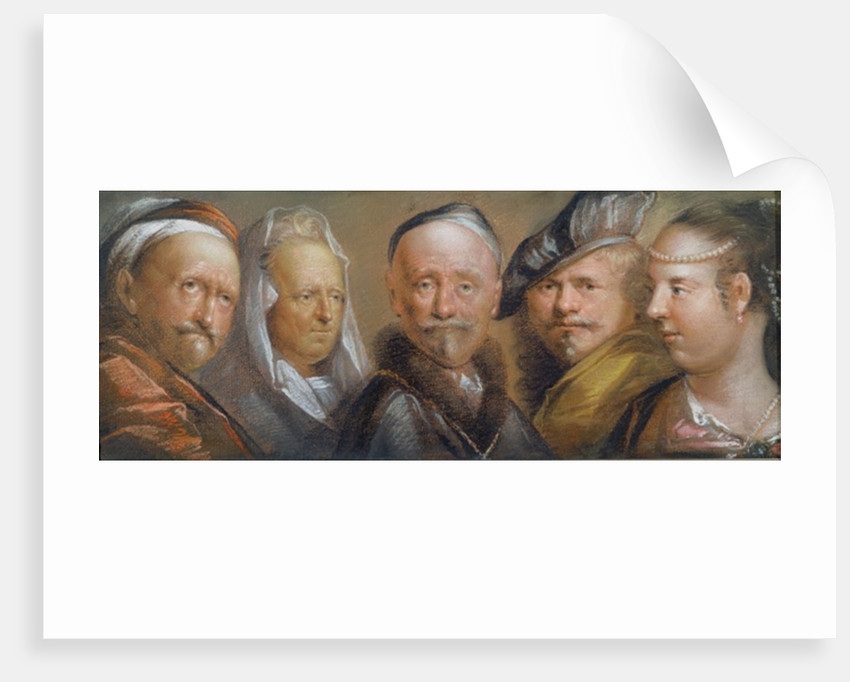Studies of Five Heads after Rembrandt by Edward Lutterell