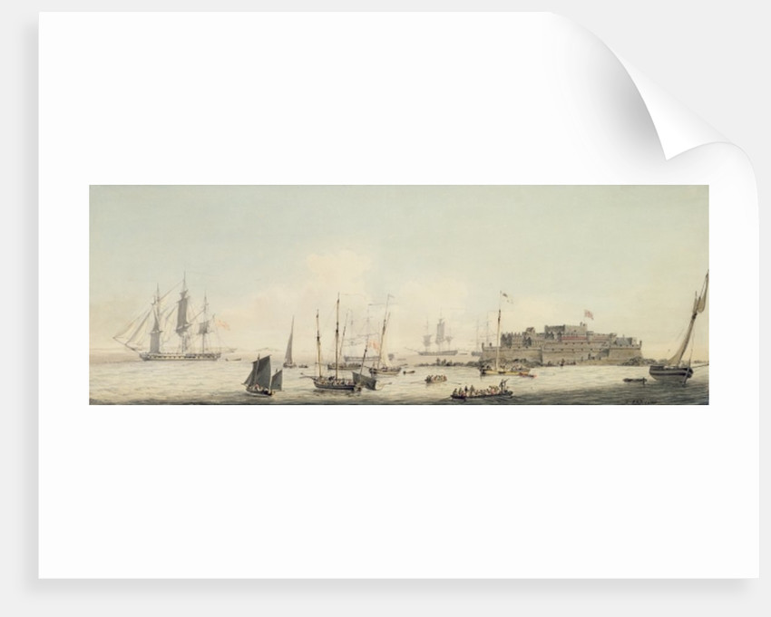 View of Castle Cornet, Guernsey, with Shipping by John Thomas Serres