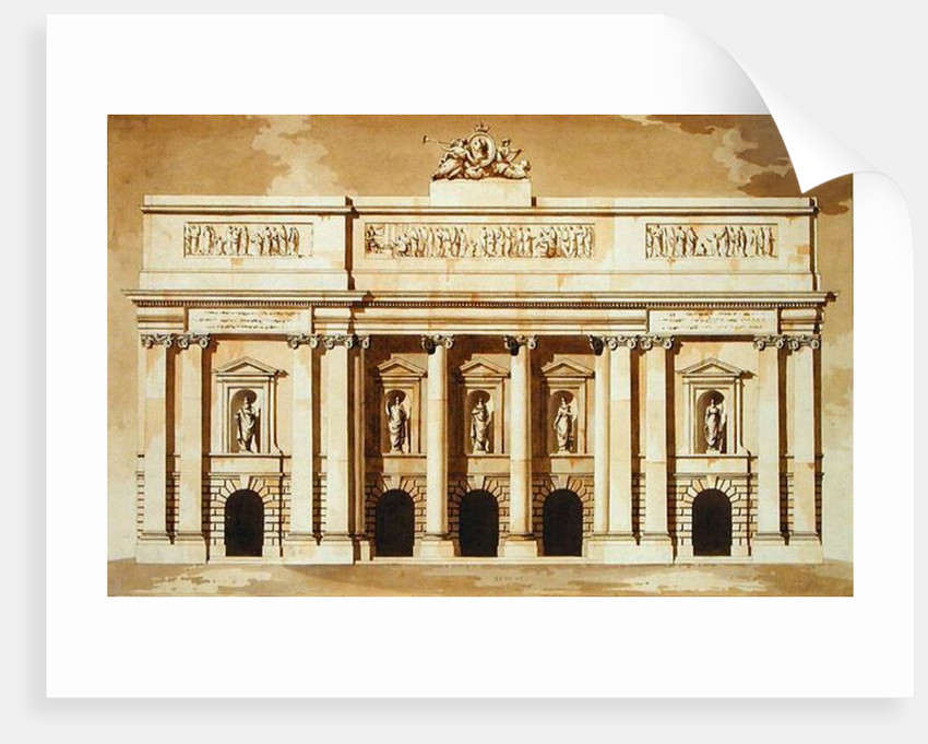 Elevation for the West Front of Parliament House, Dublin by James Gandon