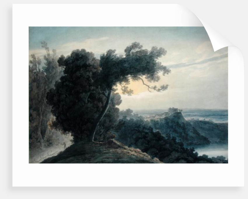 The Lake of Albano and Castle Gandolfo by John Robert Cozens