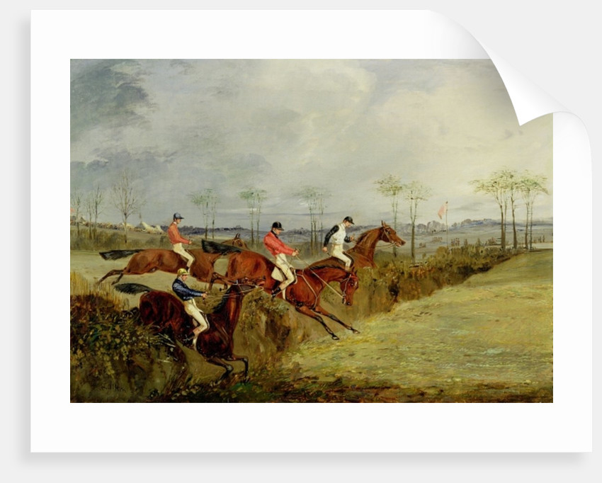 A Steeplechase, Taking a Hedge and Ditch by Henry Thomas Alken