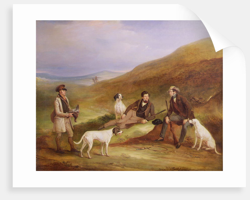 Edward Horner Reynard and his Brother, George, Grouse Shooting with the Keeper, Tully Lamb, at Middlesmoor, Yorkshire by John E. Ferneley