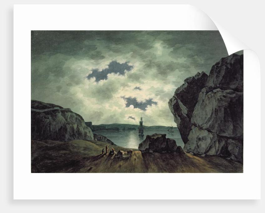 Bay Scene in Moonlight by John Warwick Smith